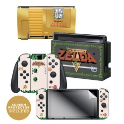 "The Legend of Zelda™ ""Gold Cartridge"" Nintendo Switch™ Console skin + Dock Skin + Joy-Con™ skin + Joy-Con™ Grip Skin + Screen Protector Bundle Assortment, Officially Licensed by Nintendo"